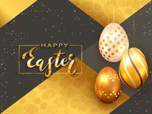 Czarny i Złocisty tło z Trzy Złotym Wielkanocnym jajkiem ilustracji