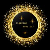 Czarny i złocisty tło z Wektorowa błyskotliwości dekoracja, złoty pył royalty ilustracja