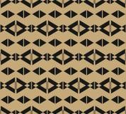 Czarny i złocisty wektorowy geometryczny bezszwowy wzór, rhombuses, trójboki, linie royalty ilustracja