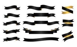 Czarny i złoty faborku set Zdjęcia Royalty Free