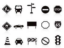 czarny ikony ustawiający szyldowy ruch drogowy Fotografia Royalty Free