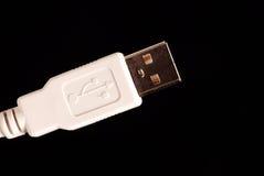 czarny kablowych dane odosobniony biel Fotografia Stock