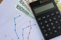 Czarny kalkulator na stosie Euro banknoty z drukowaną ćwiartką Zdjęcie Royalty Free