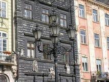 Czarny Kamenica przy Targowym kwadratem w Lviv Obrazy Royalty Free