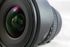 Czarny kamera obiektyw odizolowywający na białym tła zbliżeniu Zdjęcia Royalty Free