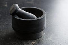 Czarny kamienny moździerz Zdjęcie Stock