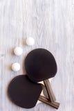 Czarny kant dla śwista pong balowego drewnianego tła odgórnego widoku Obraz Stock