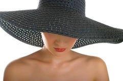 czarny kapelusz kobiety Zdjęcia Royalty Free