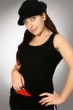 czarny kapelusz kobiety Zdjęcia Stock