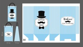 Czarny kapelusz, wąsy i łęku krawat, Printable szablon dla małego mężczyzna ` s urodziny Fotografia Royalty Free