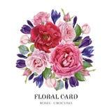 czarny karta barwił kwiecistego kwiatu irysa biel Bukiet akwarela krokusy i róże Obraz Stock