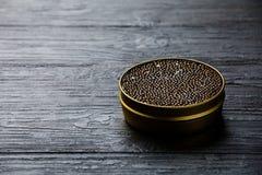 Czarny kawior wewnątrz może Obrazy Royalty Free