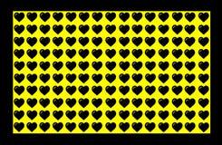 Czarny Kierowy kształt na Żółtym tle z czerni granicą Serce kropki projekt Może używać dla Ilustracyjnego zamierza, tło, royalty ilustracja