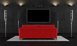 czarny kinowa domowa czerwień Zdjęcia Royalty Free
