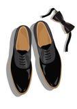 Czarny klasyczny męski buta odgórny widok Obrazy Royalty Free