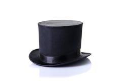 Czarny klasyczny odgórny kapelusz, odizolowywający na białym tle Obrazy Stock