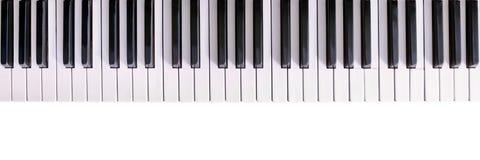 czarny klawiaturowych kluczy na pianinie rządu biały drewna Obrazy Stock
