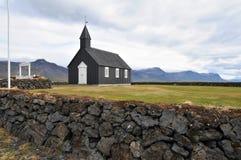 Czarny kościół w Iceland Zdjęcia Royalty Free