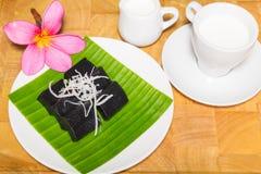 Czarny kokosowy słodki puddingu deser Obrazy Stock