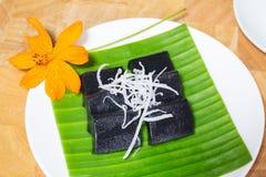 Czarny kokosowy słodki puddingu deser Fotografia Royalty Free