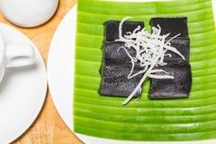 Czarny kokosowy słodki puddingu deser Zdjęcie Royalty Free