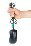 czarny komputerowa ręki mienia mysz Zdjęcie Royalty Free