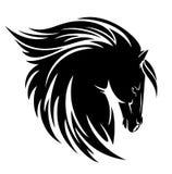 Czarny konia profilu głowy wektor Fotografia Stock