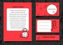 Czarny kontur kwitnie i butelki na czerwonym tle Z biel przestrzenią dla teksta Set sztandary dla piękna i kosmetyków wektor ilustracja wektor