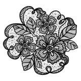 Czarny koronka wzór z kwiatami obraz stock