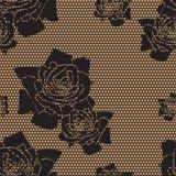 Czarny koronki wektoru tkaniny bezszwowy wzór Zdjęcia Royalty Free