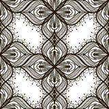 Czarny koronkowy bezszwowy wzór na białym dackground Obraz Stock