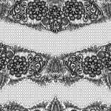 Czarny Koronkowy bezszwowy wzór z kwiatami na bielu  ilustracji