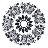 Czarny koronkowy okrąg Odizolowywający przedmiot Zdjęcie Stock