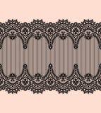Czarny Koronkowy wektoru wzór Horyzontalny faborek do granicy royalty ilustracja