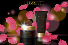Czarny kosmetyczny reklama projekta szablon Ciemny złoty skóry opieki pakunku tubki szkła odbicie Różani płatki defocuced tło pro ilustracji