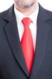 Czarny kostium, czerwony krawat i biała koszula, Zdjęcia Stock