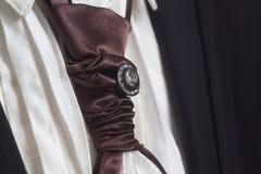 Czarny kostium i biała koszula z brown jedwabniczym krawatem zdjęcie royalty free