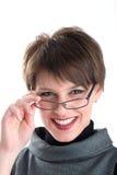 czarny kostiumowe uśmiechnięte kobiety Fotografia Stock