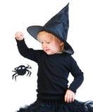 czarny kostiumowej dziewczyny mała berbecia czarownica obrazy stock