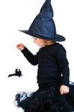 czarny kostiumowej dziewczyny mała berbecia czarownica Fotografia Royalty Free