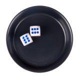 czarny kostka do gry odizolowywający zasięrzutny garnek Obraz Stock