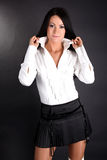 czarny koszula spódnicy biała kobieta obraz royalty free