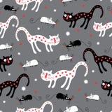 czarny kotów wzoru biel ilustracji