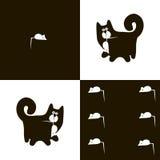 Czarny kot 1x6 i biała mysz Obrazy Royalty Free