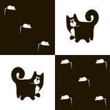 Czarny kot 3x5 i biała mysz Fotografia Royalty Free