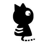 Czarny kot jest przyglądający na prawej stronie Zdjęcia Stock