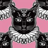 Czarny kot w rocznika kołnierza bezszwowym wzorze ilustracja wektor