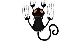 czarny kot kot wspina się ścianę Zdjęcie Stock