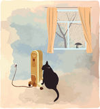 Czarny kot wygrzewa się blisko nagrzewacza wektoru ilustraci Obrazy Royalty Free