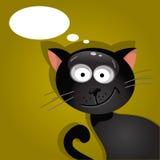 Czarny kot z chmurą myśli również zwrócić corel ilustracji wektora Fotografia Royalty Free